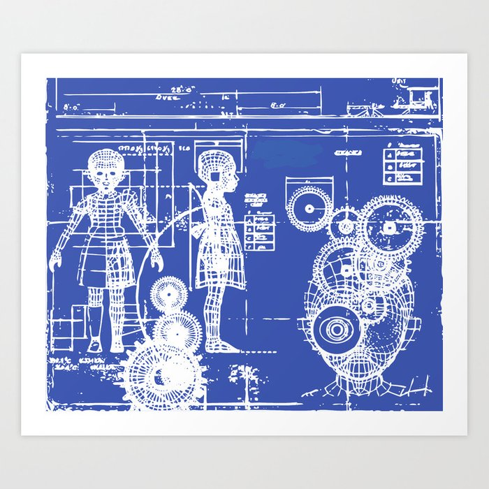 My little sister blueprint art print by sofiayoushi society6 my little sister blueprint art print malvernweather Gallery