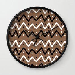 Brown and Black Chevrons and Dots Wall Clock