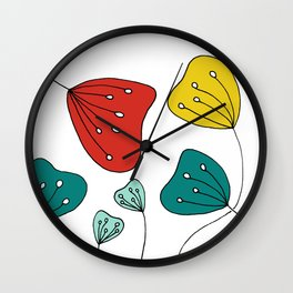 Quirky Hand Drawn Red, Yellow and Teal Flowers by Emma Freeman Designs Wall Clock