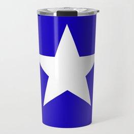 white star on blue background Travel Mug
