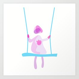 Blushed girl on a swing Art Print