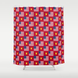 Mix of flag : usa and vietnam Shower Curtain