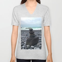 Grey cairns Beach Unisex V-Neck