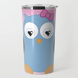 Cool Hooter - Owl illustration pink and blue Travel Mug