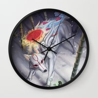 okami Wall Clocks featuring Okami by Caroline Roy