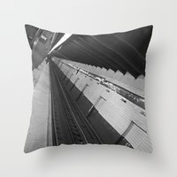 subway Throw Pillows featuring Subway by Laura Gomez