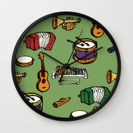 Toy Instruments on Green Wall Clock