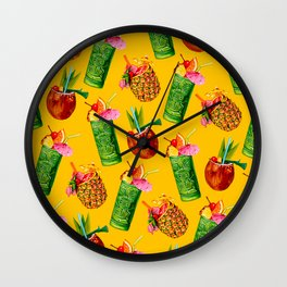 Tiki Cocktail Pattern - Yellow Wall Clock