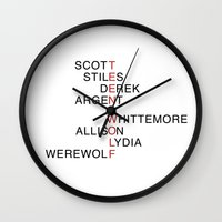 teen wolf Wall Clocks featuring Teen Wolf  by Dan Lebrun