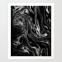 Black and white marble abstract minimal suminagashi japanese ink Art Print