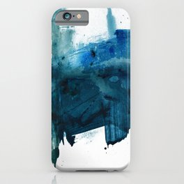 Change: A minimal abstract acrylic painting in blue and green by Alyssa Hamilton Art iPhone Case