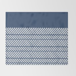 Herringbone Boarder Navy Throw Blanket