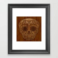 Wooden Sugar Skull Framed Art Print