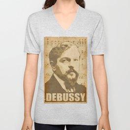 Claude Debussy musical notes Unisex V-Neck