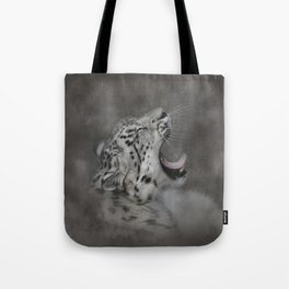 Yawning Snow Leopard Tote Bag