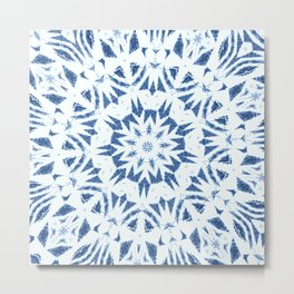 Snowflake Denim & White Metal Print