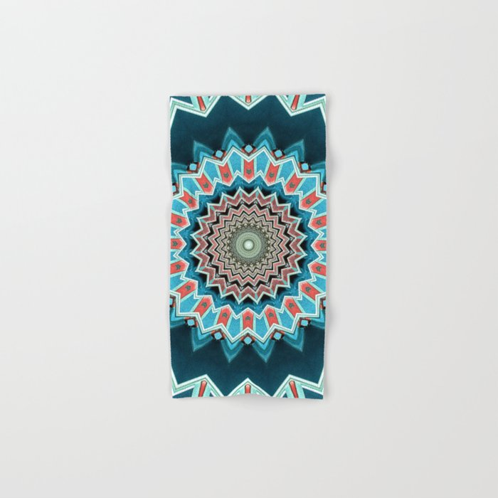 Blue And Turquoise Pattern Hand & Bath Towel