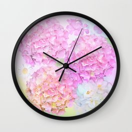 Pink Hortensias and other flowers Wall Clock