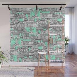 Paris toile aquamarine Wall Mural