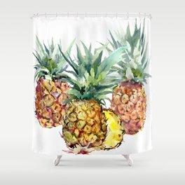Pineapples, pineapple art design watercolor tropical HAwaiian kitchen art Shower Curtain