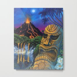 Tiki and Volcano Metal Print