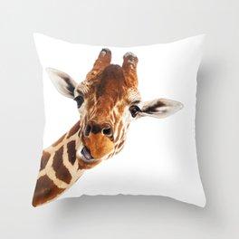 Giraffe Portrait // Wild Animal Cute Zoo Safari Madagascar Wildlife Nursery Decor Ideas Throw Pillow