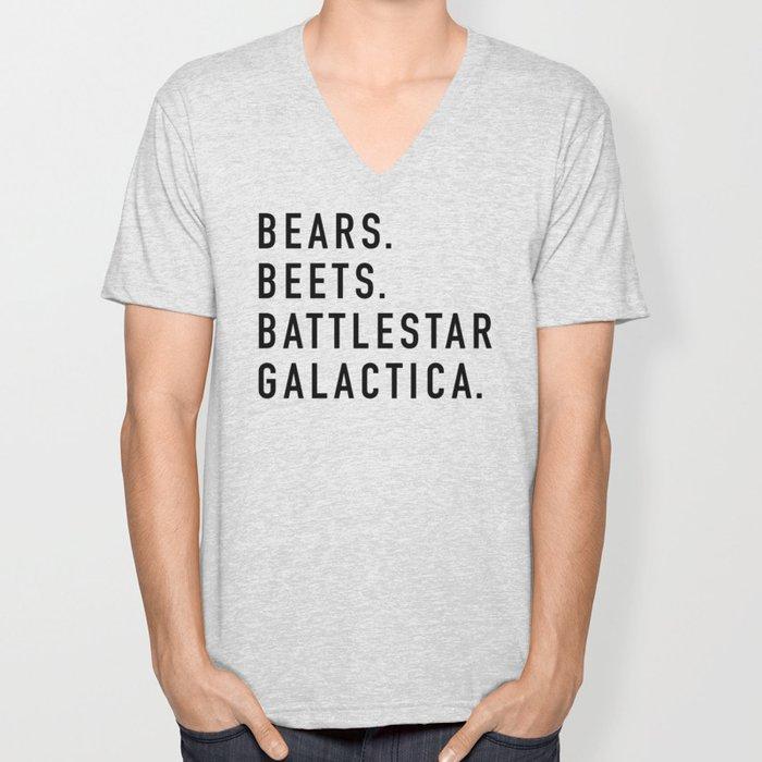 Bears Beets Battlestar Unisex V-Neck