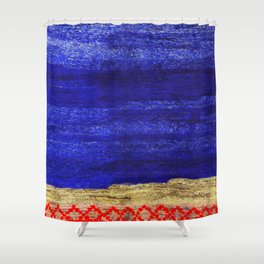 V24 New Blue Calm Traditional Moroccan Carpet Texture. Shower Curtain