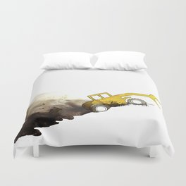 yellow grab crane crawls out Duvet Cover