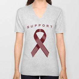 Burgundy Awareness Ribbon Unisex V-Neck