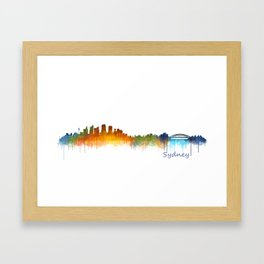 Sydney City Skyline Hq v2 Framed Art Print