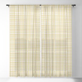 Fine Weave Retro Modern Mid-Century Pattern in Mustard Yellow and White Sheer Curtain