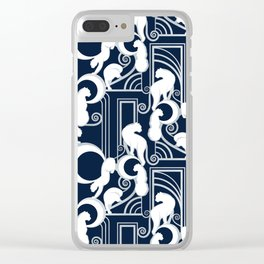 Deco Gatsby Panthers // navy and silver Clear iPhone Case