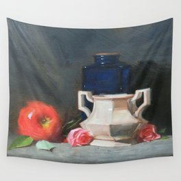 Blue Bottle with Apple Wall Tapestry