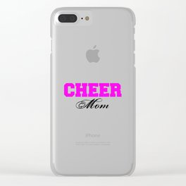 Cheer Mom Typography in Pink and Black Clear iPhone Case