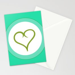 Green Heart with Love Stationery Cards