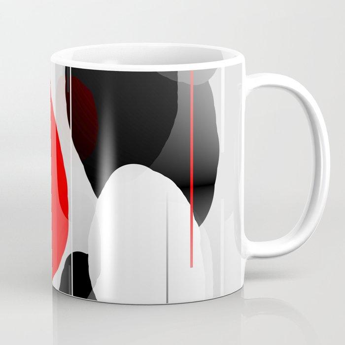 Modern Anxiety Abstract - Red, Black, Gray Coffee Mug