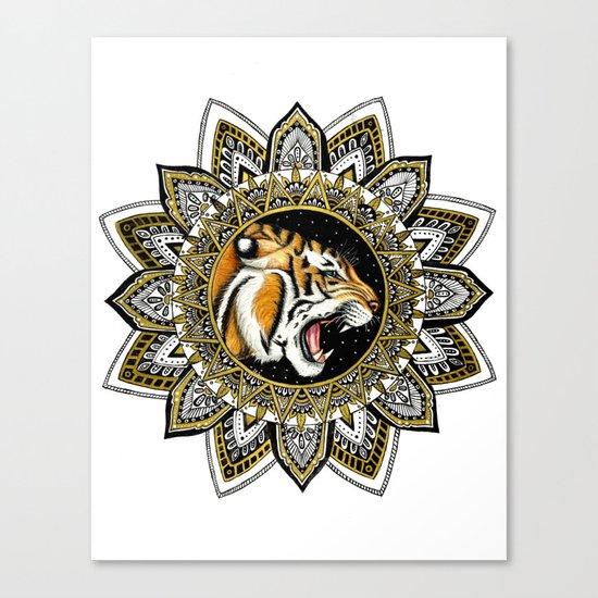 Black and Gold Roaring Tiger Mandala Canvas Print