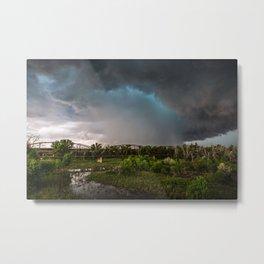 The Bridge - Intense Storm Over River Landscape in Texas Metal Print