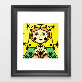 Matryoshka russian doll colorful illustration wall decor - Svetlana Framed Art Print