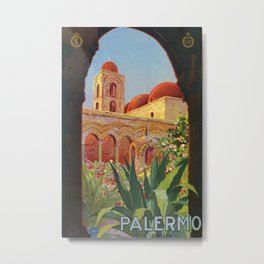 vintage 1920s Palermo Sicily Italian travel ad Metal Print