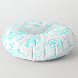 Silly, Fun Blue Doodle Clouds Floor Pillow