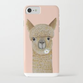 Watercolor llama with flowers pink iPhone Case