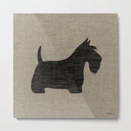 Scottish Terrier   Black Scottie Dog Silhouette Metal Print