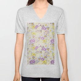 Vintage pattern- Spring in purple and yellow- daffodils and anemones Unisex V-Neck