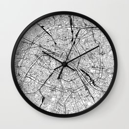 Paris White Map Wall Clock