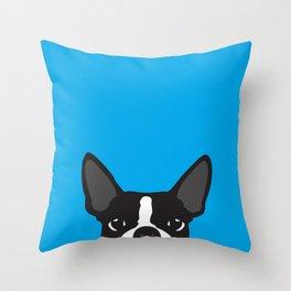 Boston Terrier Blue Throw Pillow