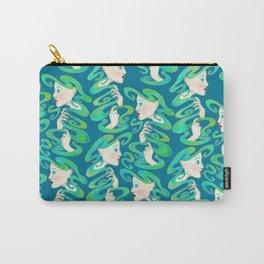 Teal Art Nouveau Ladies Carry-All Pouch