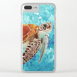 Turtle Swimming Clear iPhone Case