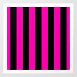 Bright Hot Neon Pink and Black Circus Tent Stripes Art Print